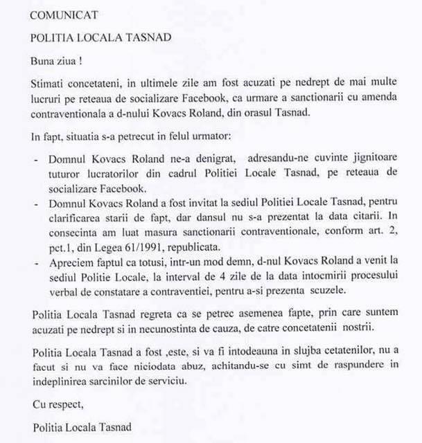 comunicat Politia Locala Tasnad